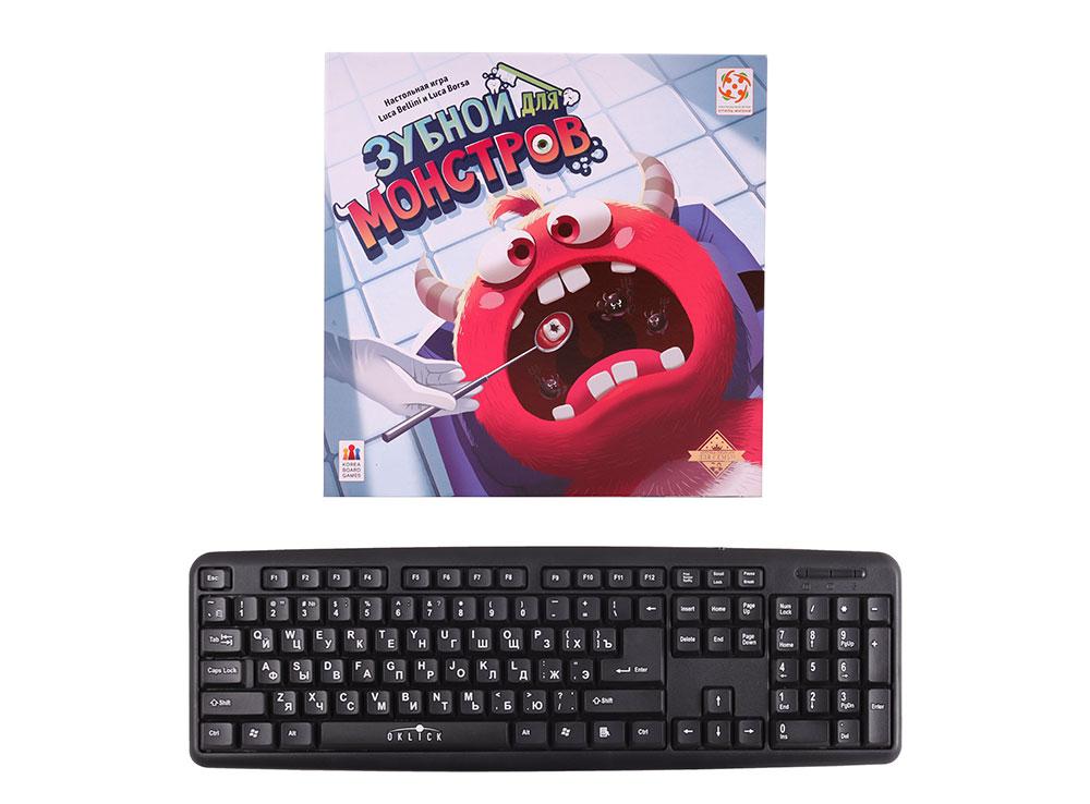 Коробка настольной игры Зубной для монстров в сравнении с клавиатурой