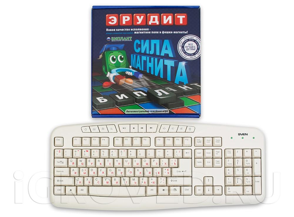 Коробка настольной игры Эрудит Магнитный в сравнении с клавиатурой