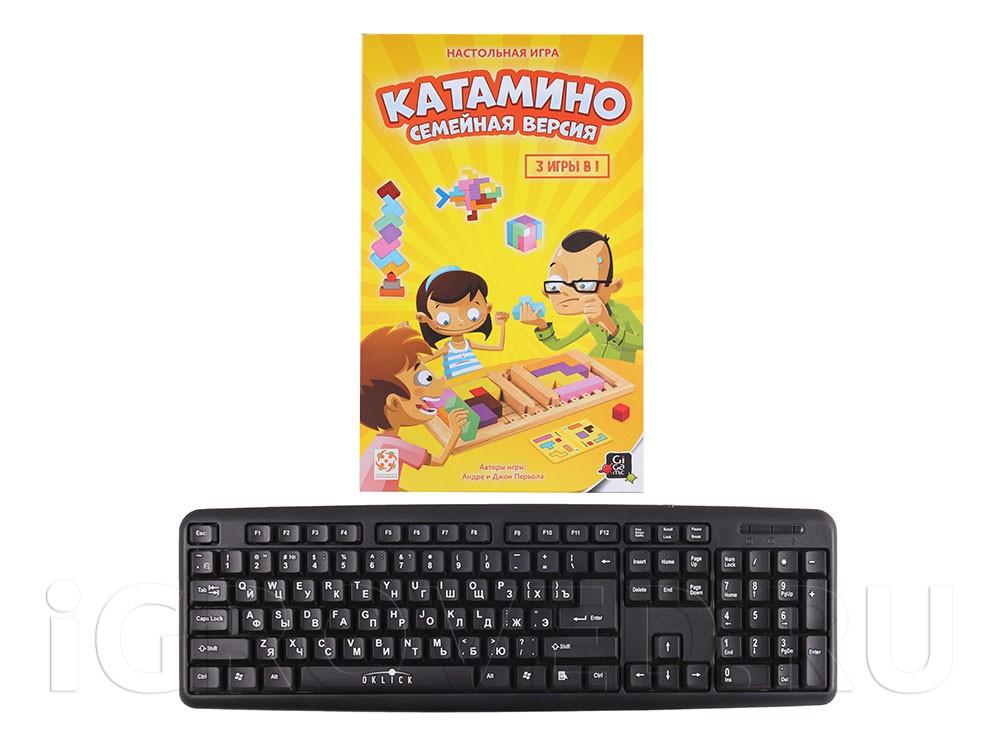 Коробка настольной игры Катамино (Katamino) Семейная версия по сравнению с клавиатурой