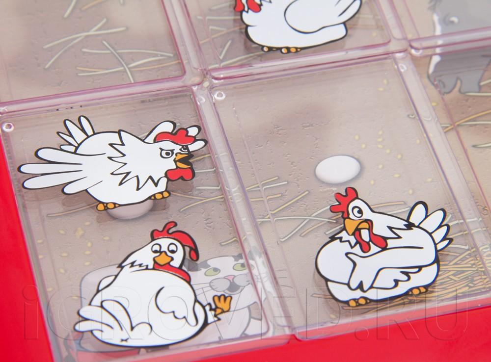 Передвигайте пластинки с курочками, чтобы закрыть яйца, но не оказаться на шее кота или другого животного. Настольная игра-головоломка Курочки-наседки