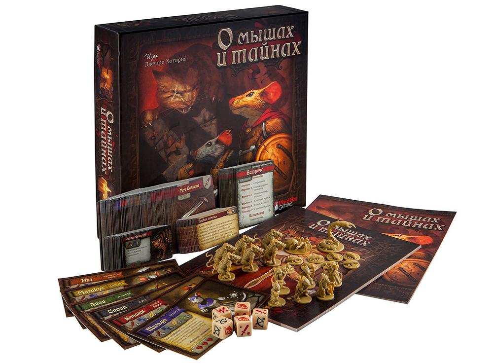 Коробка и компоненты настольной игры О мышах и тайнах