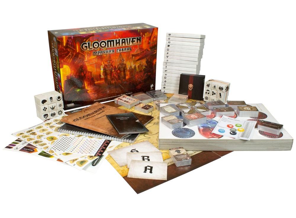 Коробка и компоненты настольной игры Gloomhaven. Мрачная гавань