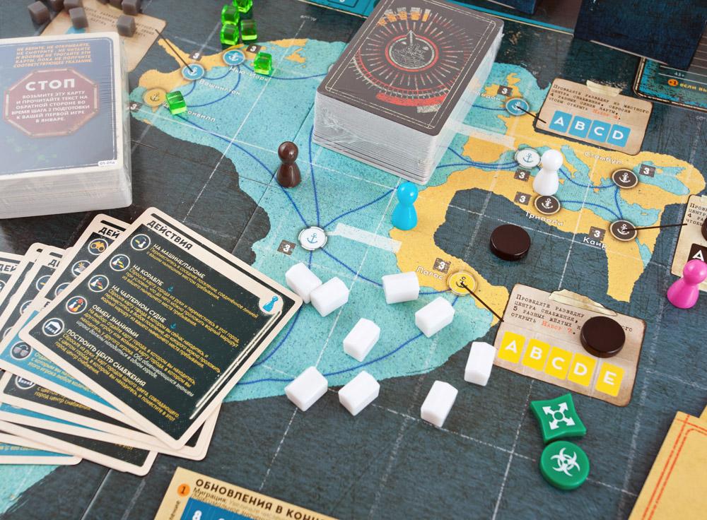 Компоненты настольной игры Пандемия: Наследие 2 (Pandemic Legacy: Season 2, жёлтая)