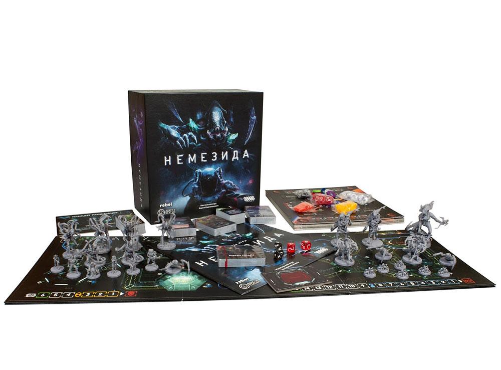 Коробка и компоненты настольной игры Немезида