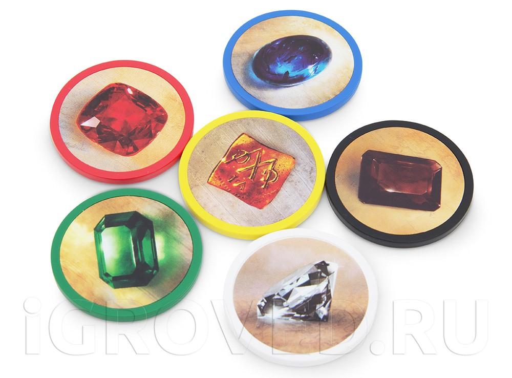 Крупные и красивые жетоны с драгоценными камнями. Настольная игра Роскошь (Splendor)