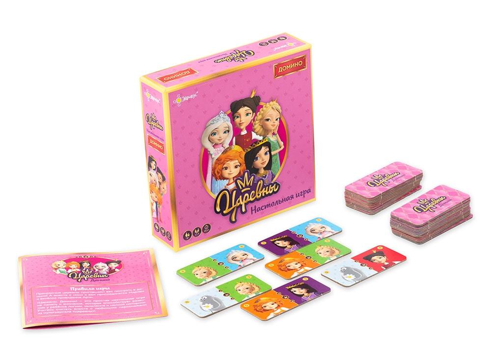 Коробка и компоненты настольной игры Домино. Царевны