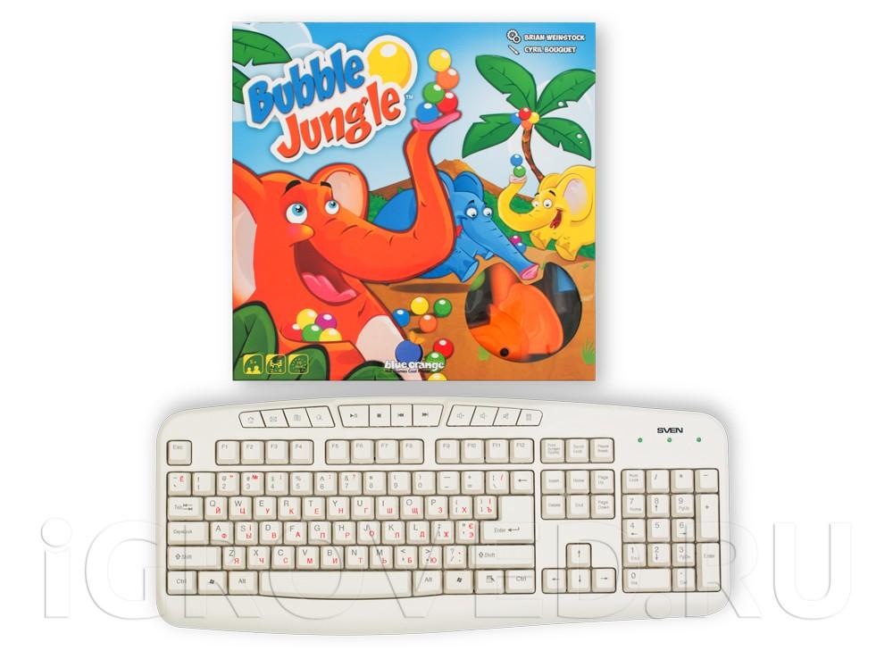 Коробка настольной игры Слоноловкость (Bubble Jungle) в сравнении с клавиатурой