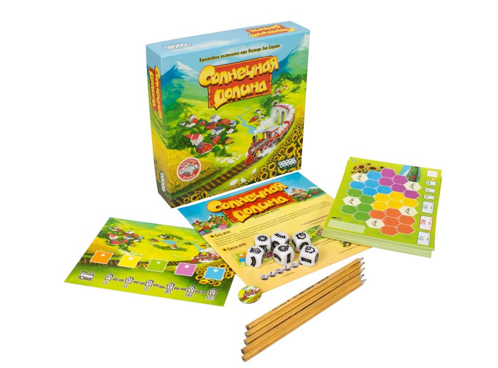Коробка и компоненты настольной игры Солнечная долина