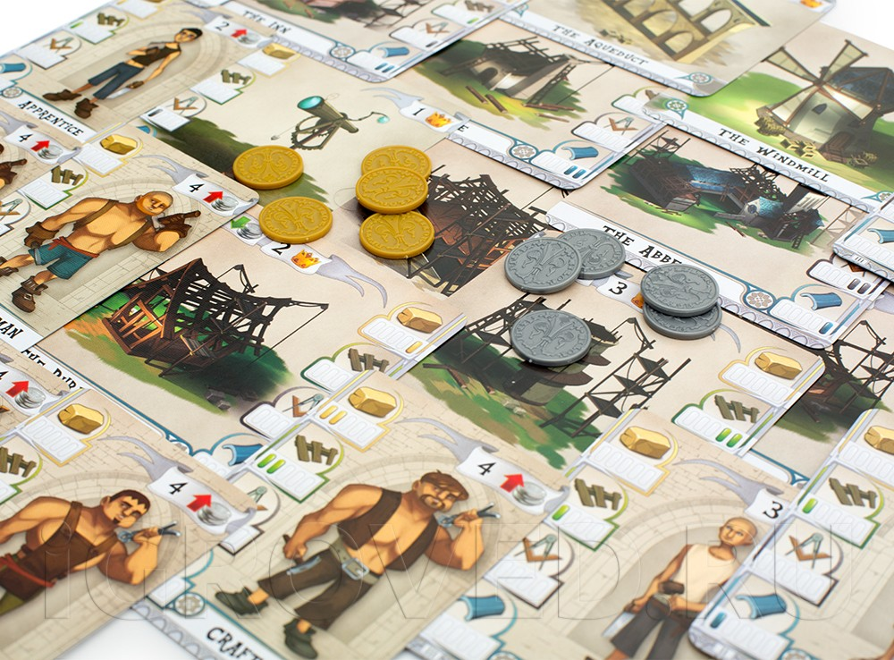 Компоненты настольной игры Строители: Средние века (The Builders: Middle Ages)
