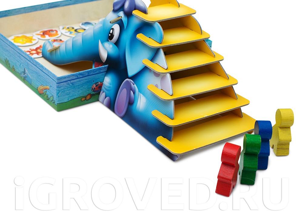 Как только игрок скатился с горки, он опять начинает подъем. Настольная игра Синий слоник.