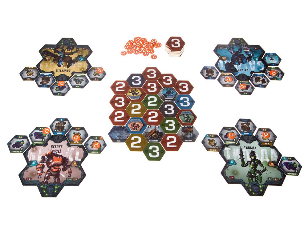 Игровой процесс настольной игры Стальная арена. Бои роботов по пятницам