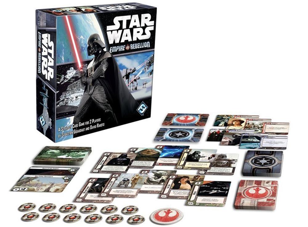 Коробка и компоненты настольной игры Star Wars: Empire vs Rebellion