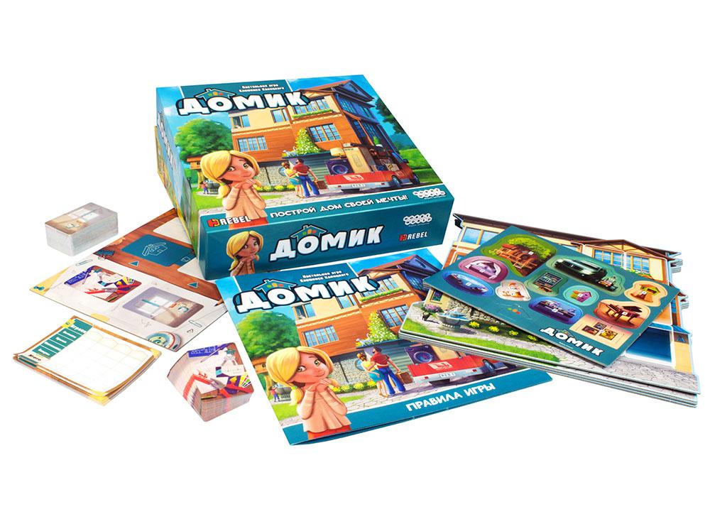 Коробка и компоненты настольной игры Домик