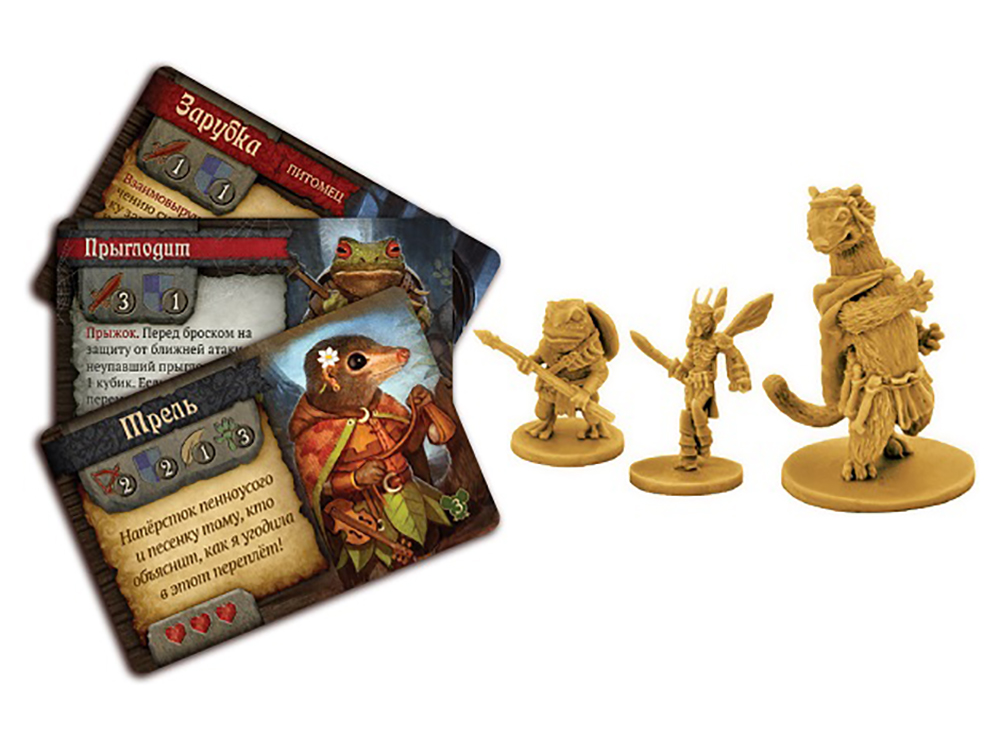 Компоненты настольной игры О мышах и тайнах: Сказки Нижнелесья (дополнение)