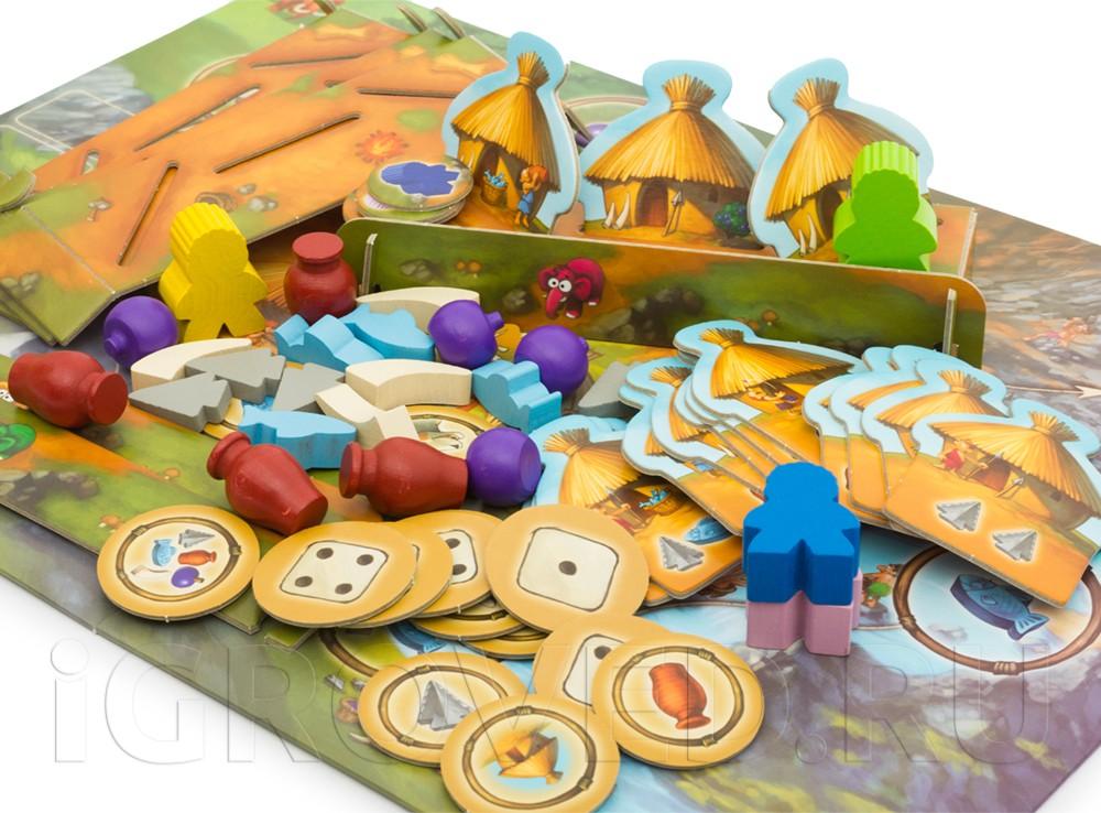 Компоненты настольной игры Каменный век Junior (My first Stone Age)