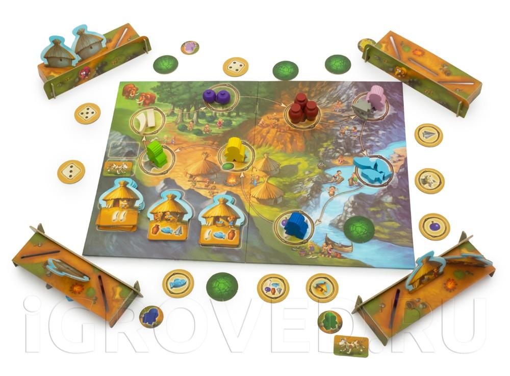 Игрокам предстоит построить свои деревни, состоящие из трех домов. Настольная игра Каменный век Junior (My first Stone Age)
