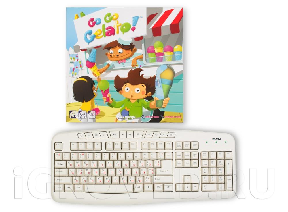 Коробка настольной игры Экспресс-мороженое (Go Go Gelato) в сравнении с клавиатурой