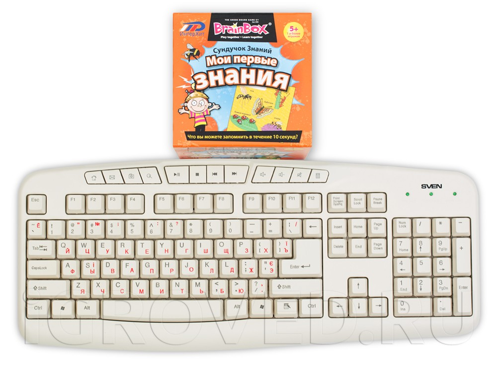 Коробка настольной игры Сундучок знаний: Мои первые знания  в сравнении с клавиатурой