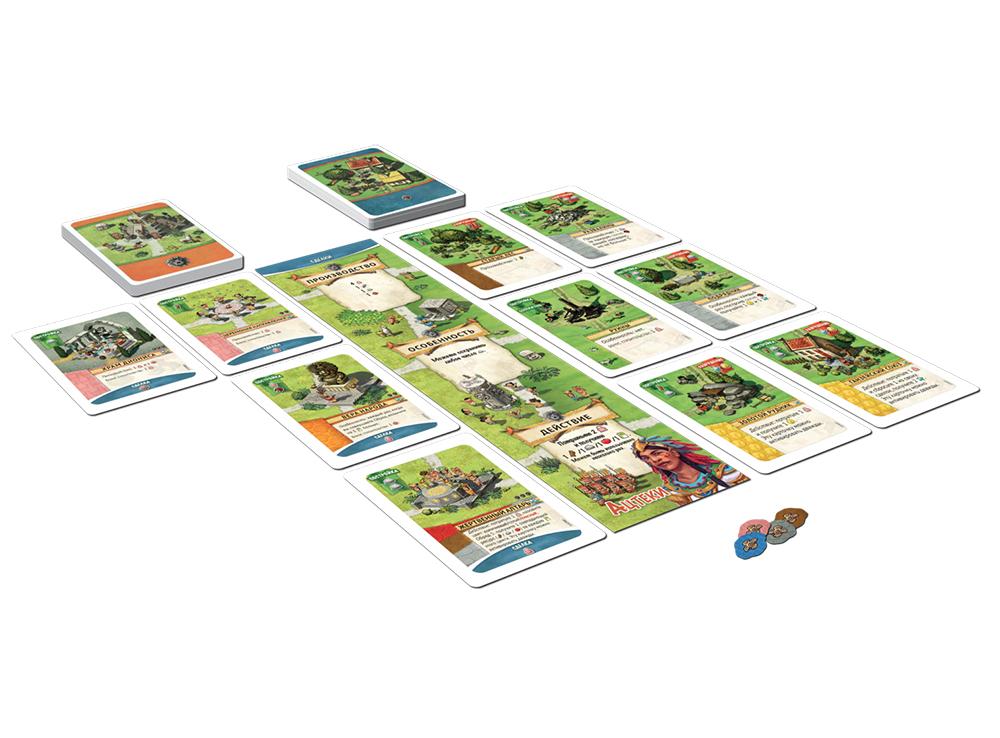 Компоненты  настольной игры Поселенцы. Ацтеки (дополнение)