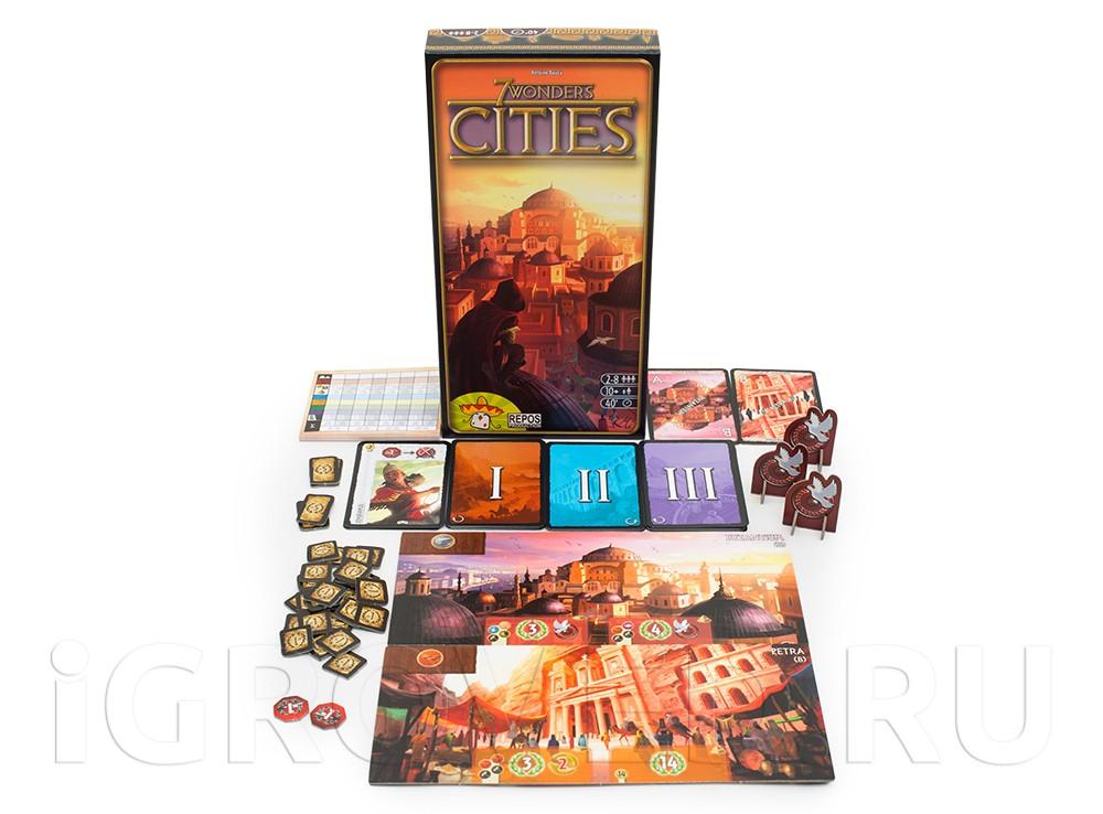 Компоненты Коробка настольной игры 7 чудес: Города (7 Wonders: Cities, дополнение)