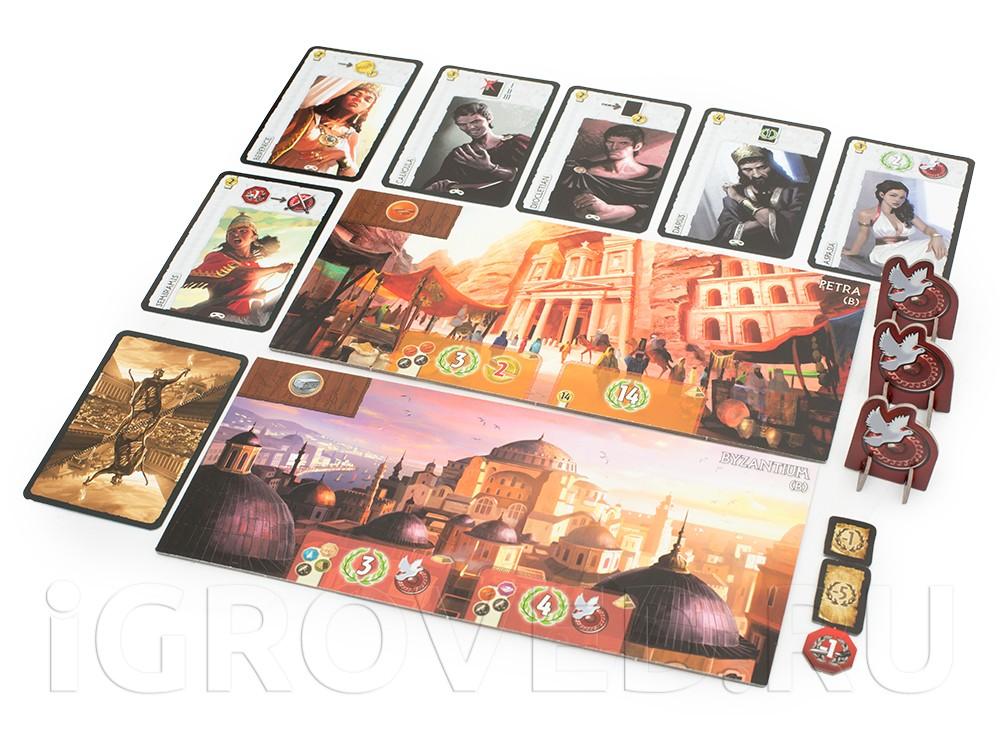 Поля Чуда Cвета, карты и жетоны в игре 7 чудес: Города (7 Wonders: Cities, дополнение)