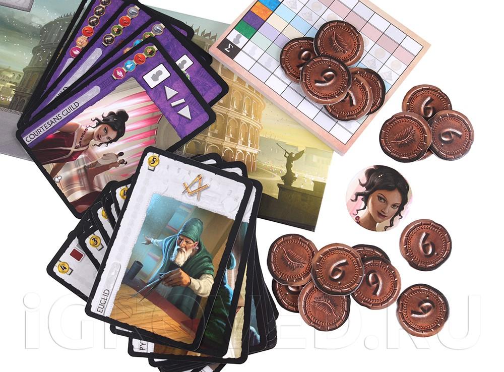 Компоненты настольной игры 7 чудес: Лидеры (7 Wonders: Leaders, дополнение)
