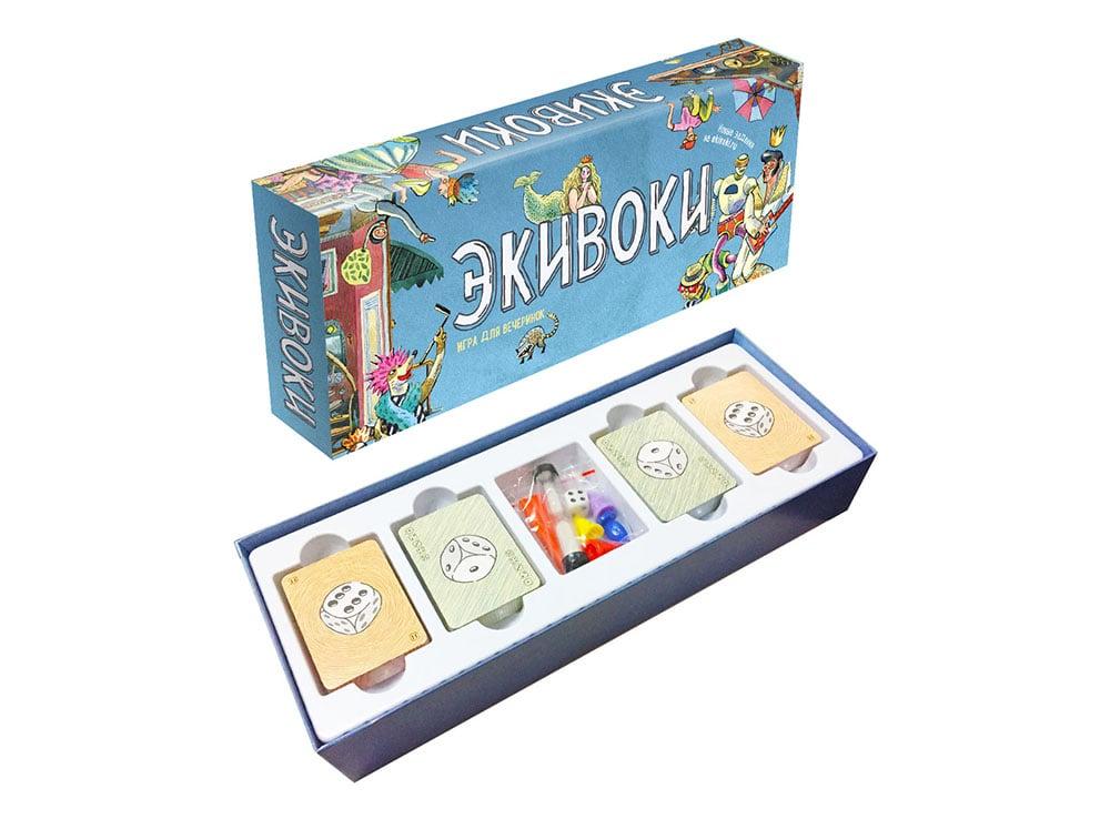 Коробка и компоненты настольной игры Экивоки