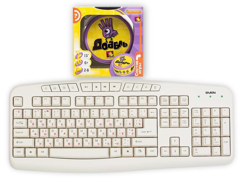 Коробка настольной игры Доббль (Dobble или Spot It!) в сравнении с клавиатурой