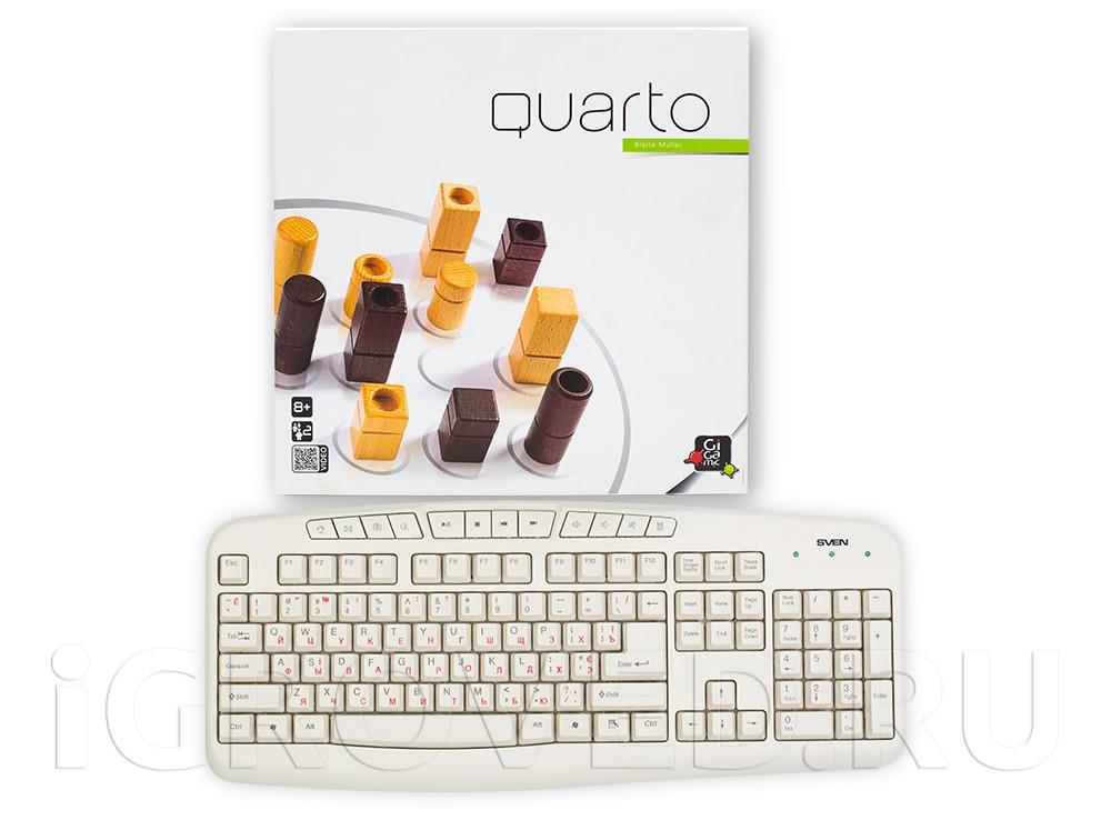 Коробка настольной игры Кварто (Quarto) в сравнении с клавиатурой