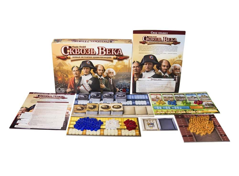Коробка и компоненты настольной игры Сквозь века