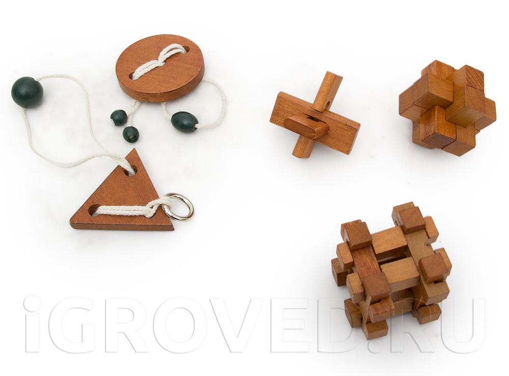 Набор из 5 классических головоломок из дерева