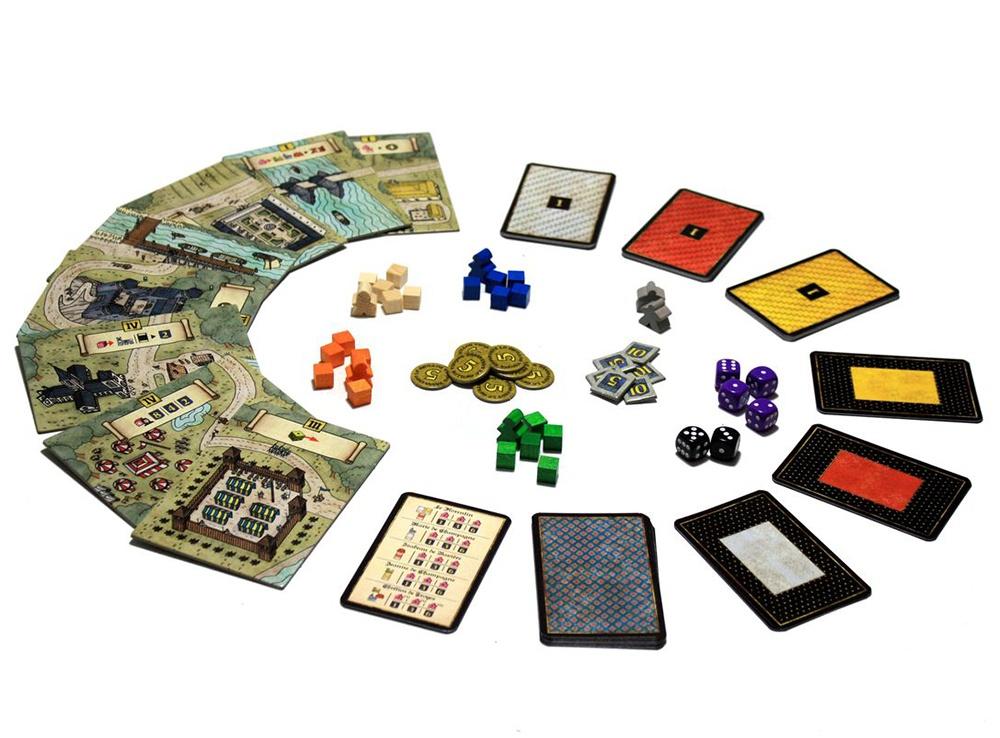 Компоненты настольной игры Труа: Леди (Les Dames de Troyes, дополнение)