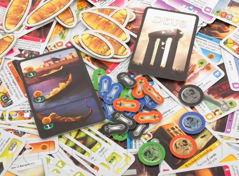 Компоненты настольной игры Деус: Египет