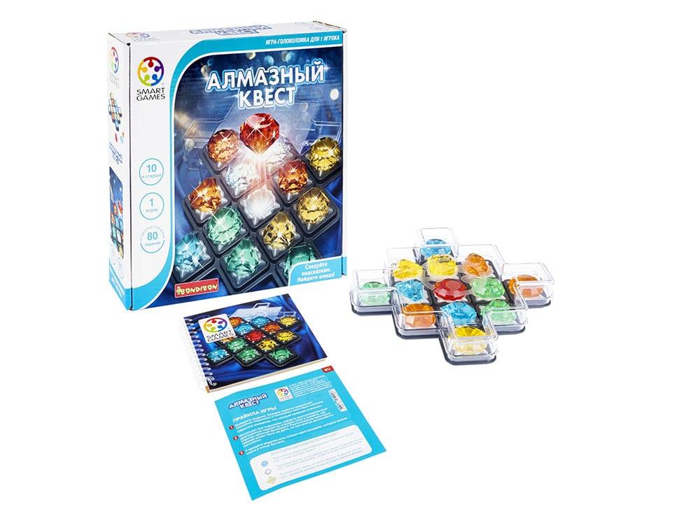 Коробка и компоненты настольной игры Алмазный квест