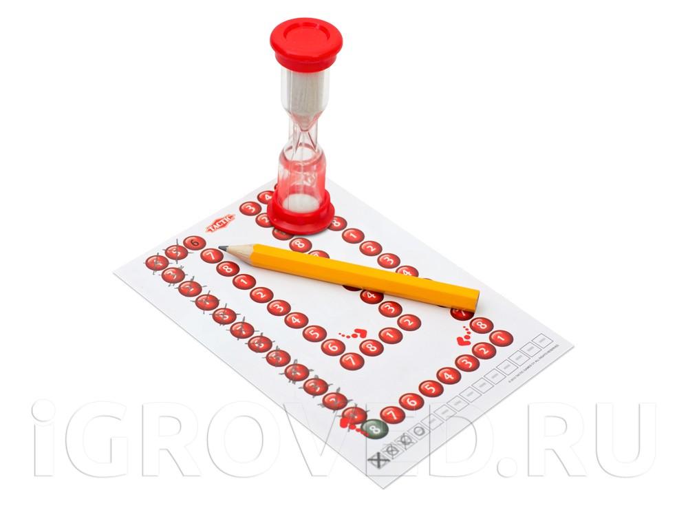 Блокнот для записей с изображением игрового поля, карандаш, песочные часы