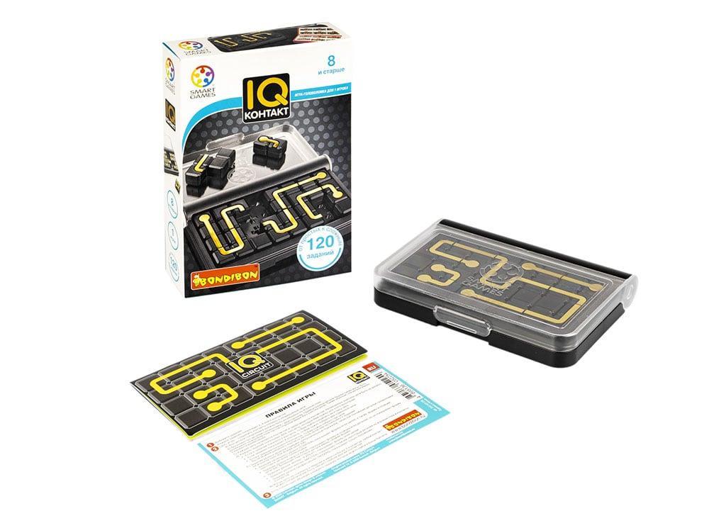 Коробка и компоненты настольной игры-головоломки IQ-контакт