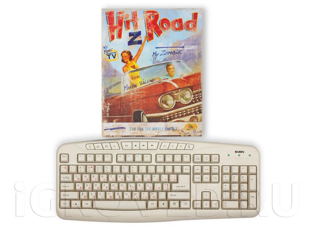 Коробка настольной игры Зомбистопом по Америке в сравнении с клавиатурой