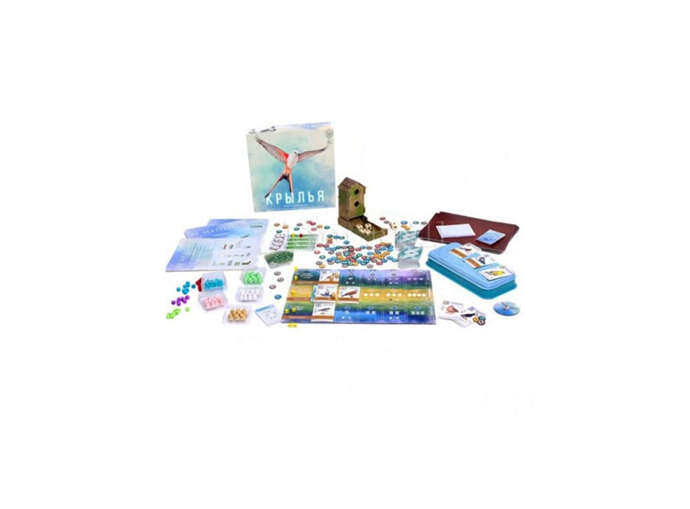 Коробка и компоненты настольной игры Крылья