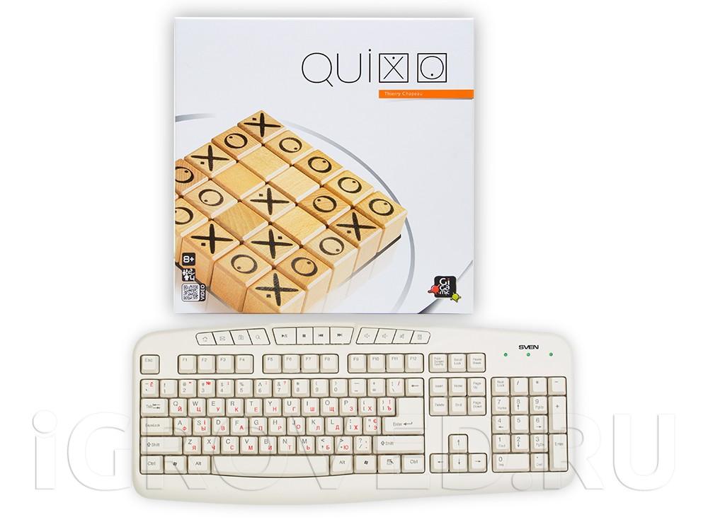 Коробка настольной игры Квиксо (Quixo) в сравнении с клавиатурой