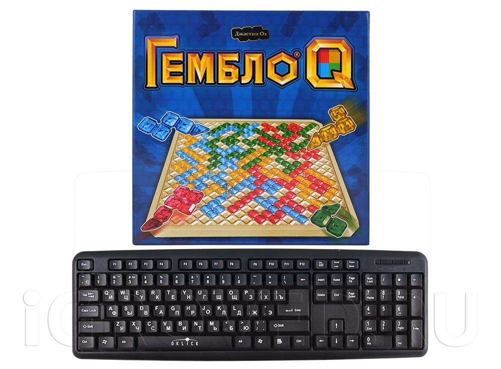 Коробка настольной игры Гембло Q в сравнении с клавиатурой