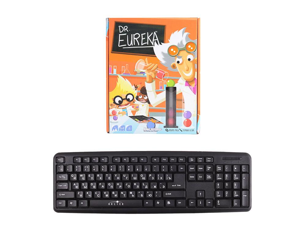 Коробка настольной игры Доктор Эврика в сравнении с клавиатурой
