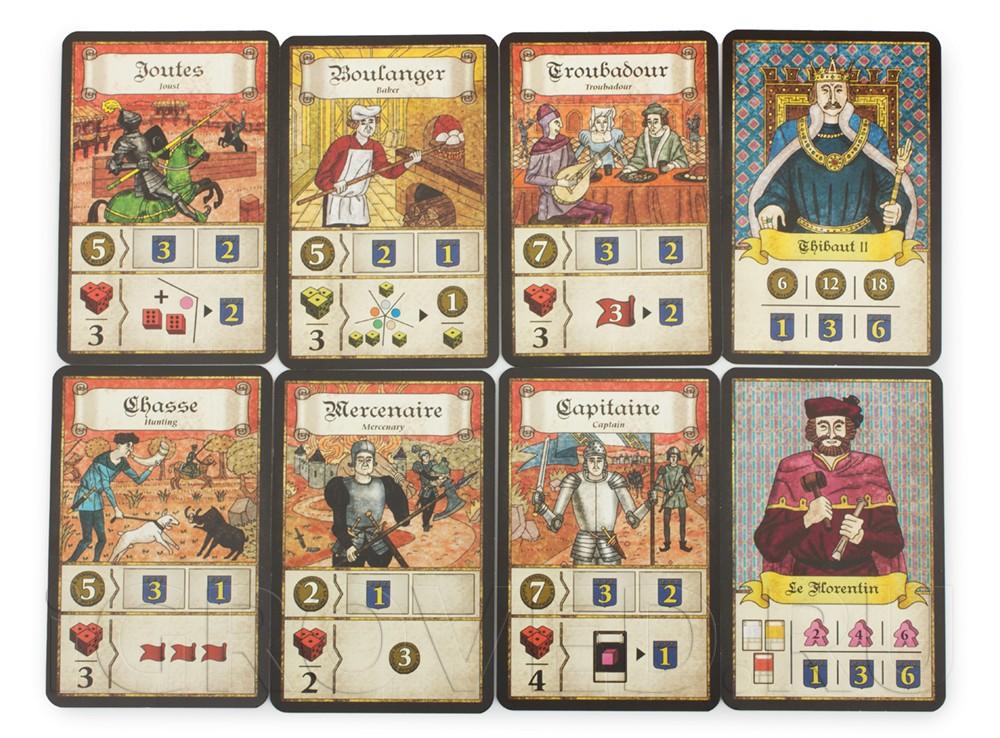 Карточки настольной игры Труа (Troyes)