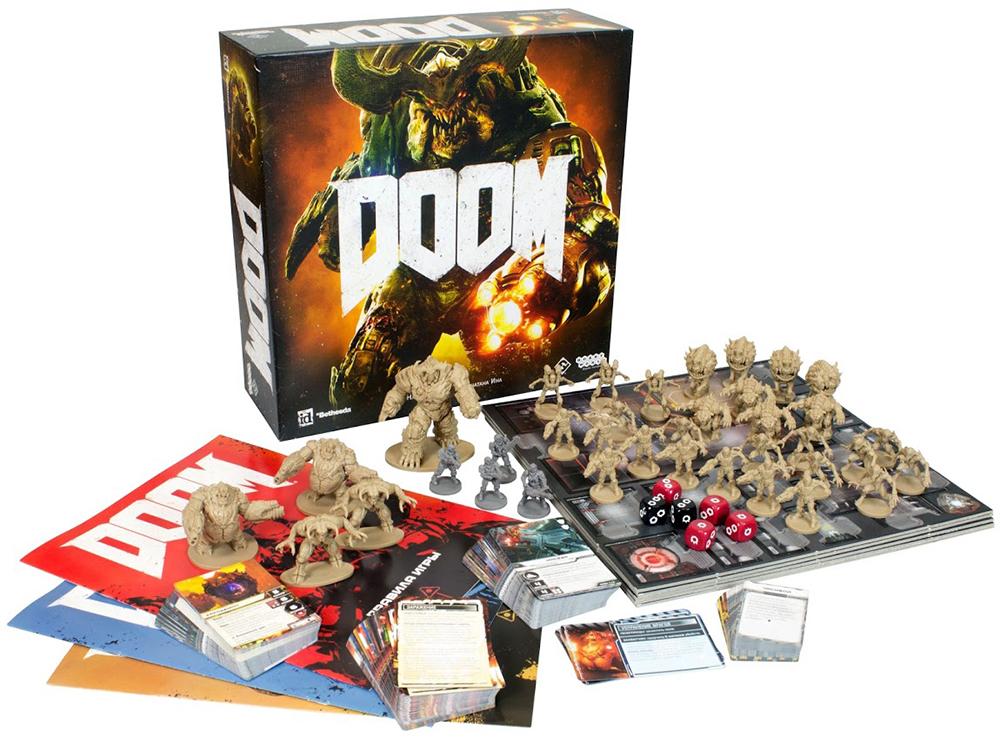 Коробка и компоненты настольной игры Doom