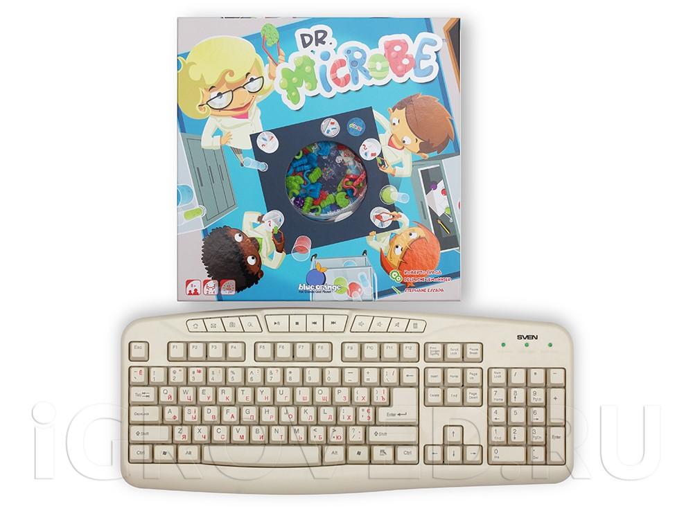 Коробка настольной игры Доктор Микроб в сравнении с клавиатурой