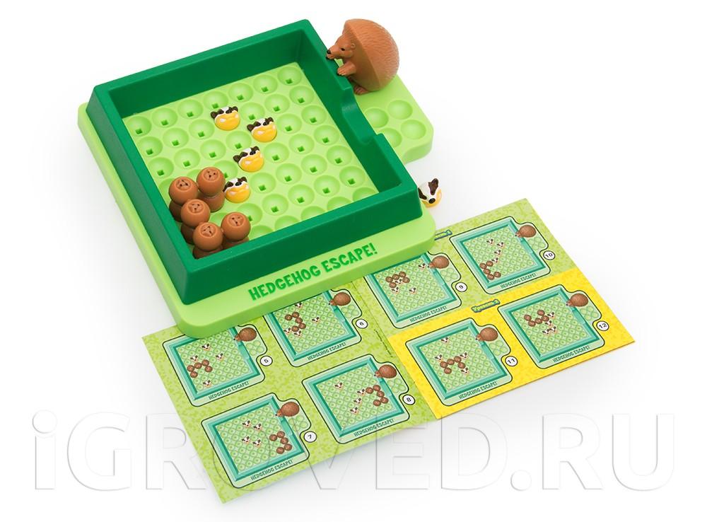 Компоненты настольной игры-головоломки Спасите ёжиков!