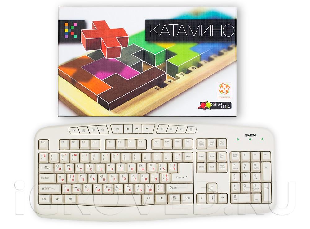 Коробка настольной игры Катамино (Katamino) по сравнению с клавиатурой