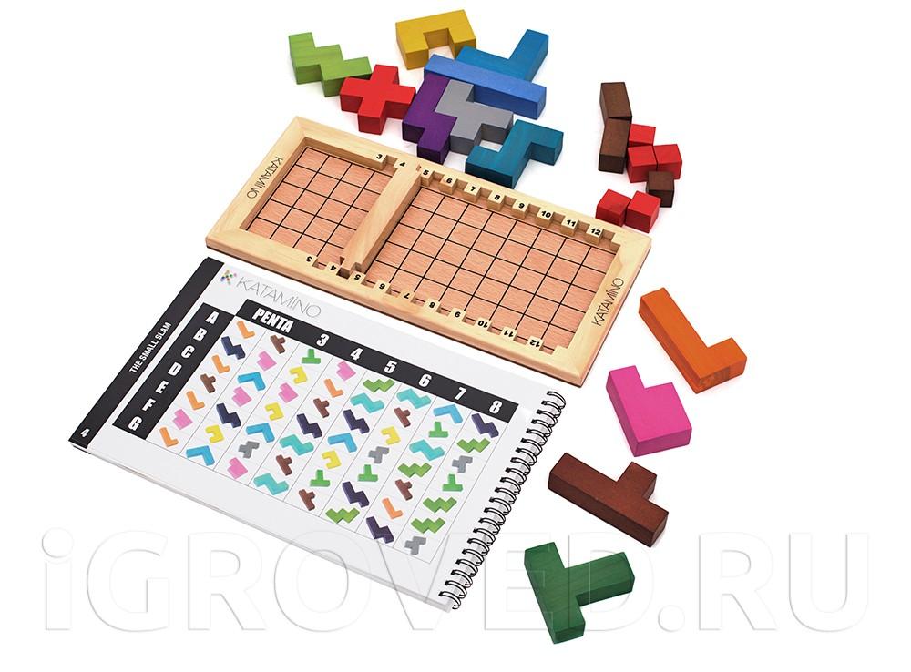 В варианте для детей от трех лет используются все фишки и кубики. Настольная игра Катамино (Katamino)