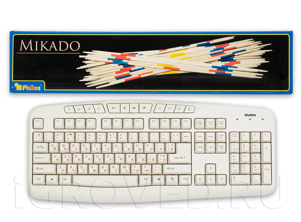 Коробка настольной игры Микадо Гросс (Mikado gros) в сравнении с клавиатурой