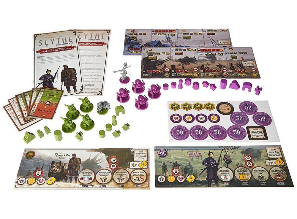 Компоненты настольной игры Серп: Захватчики из далёких земель (дополнение)
