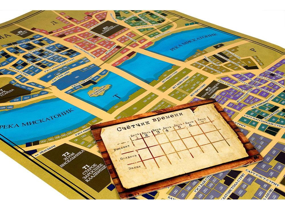 Карта и счётчик времени настольной игры Тайны Аркхэма
